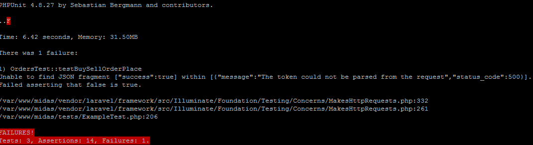 The token could not be parsed from the request